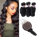 Jada Good Quality Malaysian Loose Wave Hair Bundles with Lace Closure 3 pcs
