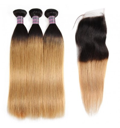 Jada Remy Virgin Human Straight Ombre Hair Bundles with Swiss Lace Closure