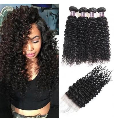Jada Cheap Peruvian Virgin Hair Bundle Curly Weave with Lace Closure