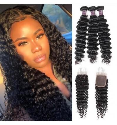 Jada Malaysian Deep Wave Human Hair Bundles with Lace Closure Extension