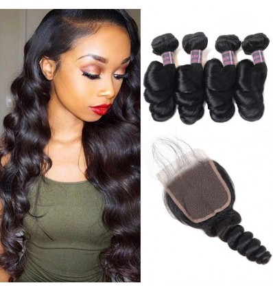 Jada Malaysian Loose Wave 4 Bundles With Lace Closure Hair Weave Extension