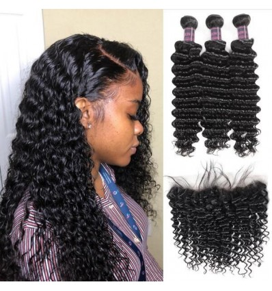 Jada 3 Bundles Brazilian Deep Wave Hair Extension with Lace Frontal