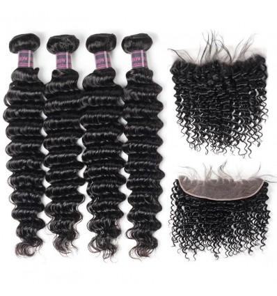 Jada Realistic Brazilian Deep Wave Hair 4 Bundles with Lace Frontal Closure