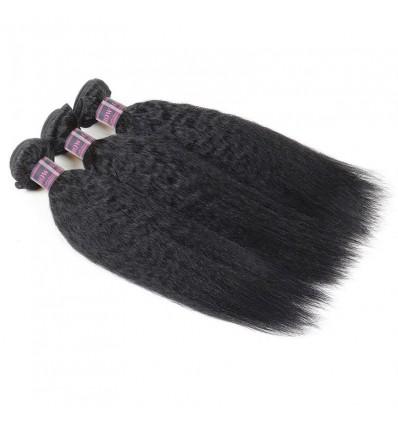 Jada Hair 3 Bundles Malaysian Yaki Human Straight Hair Weave Wigs