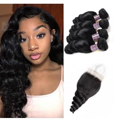 Jada Highlight Peruvian Virgin Hair Extension 4 Bundles with 4x4 Lace Closure