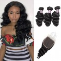 Jada Healthy Peruvian Loose Wave Hair 3 Bundles with Lace Closure