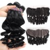 JadaBeautiful Black Peruvian Virgin Loose Wave Hair Bundles with Lace Frontal