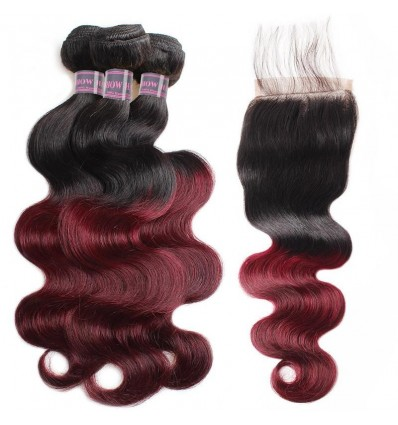 Jada Body Wave Ombre Burgundy Hair Extension 3 Bundles with Lace Closure