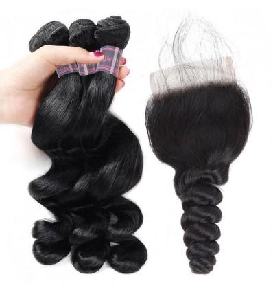 Jada Soft Black Peruvian Human Loose Wave Hair Bundles Lace Closure