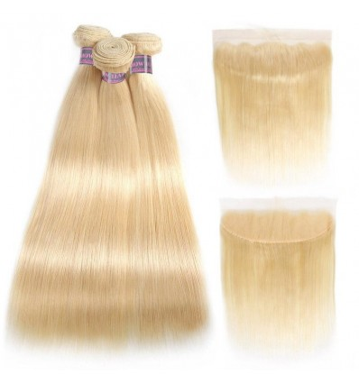 Jada Highlight Blonde Straight Brazilian Hair Extension Bundles with Lace Frontal
