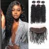 Jada Cheap Brazilian Kinky Curly Hair Bundles with Lace Frontal Weaves 3 pcs