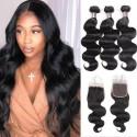 Jada Cheap Brazilian Body Wave Hair 3 Bundles with 4X4 Lace Closure