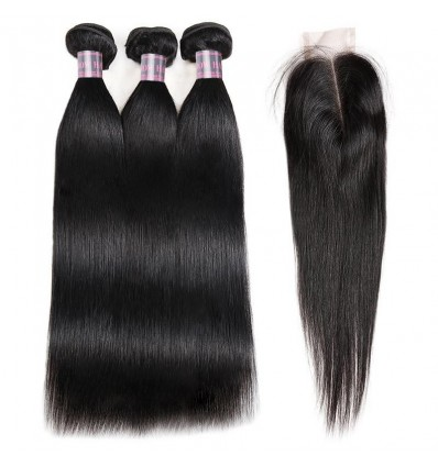 Jada Brazilian Women Straight Human Hair Bundles with Lace Closure