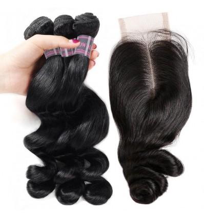 Jada Shoulder Length 2x4 Lace Closure Brazilian Loose Wave Bundle Deals Wig