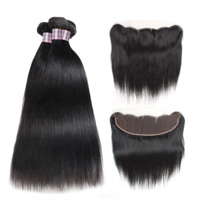 Jada Malaysian Straight Remy Human Hair 3 Bundles with Lace Frontal