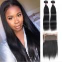 Jada 2 pcs Straight Virgin Hair Extension Bundles Full Lace Frontal