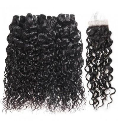 Jada Remy Malaysian Human Water Wave Hair 4 Bundles with Lace Closure
