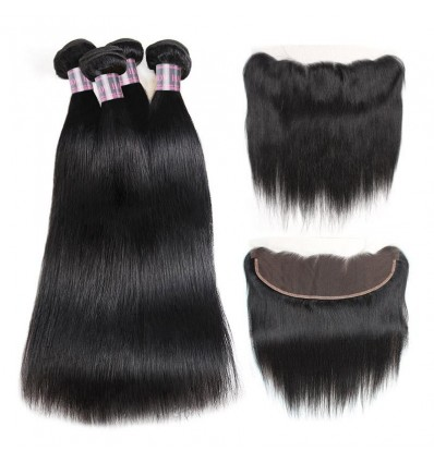 Jada Unprocessed Peruvian Straight Hair 4 Bundles with Lace Frontal Closure