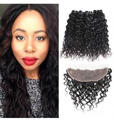 Jada 4 pcs Soft Peruvian Water Wave Hair Bundles with Lace Frontal Closure