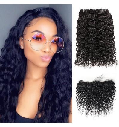 Jada Peruvian Water Wave 13x4 Lace Frontal 3 Bundles Hair Extension