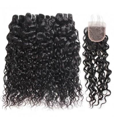 Jada Indian Natural Water Wave 4 Bundles Hair Extension Lace Closure
