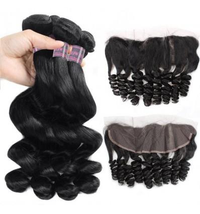 Jada Hot-Sale Malaysian Loose Wave Hair Bundles Lace Frontal in 4 pcs