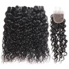 Jada Hair Cheap Brazilian Hair 4 Bundles Water Wave Swiss Lace Closure