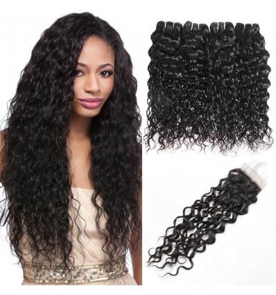 Natural Black Peruvian Water Wave Hair 4 Bundle Free Part with Closure