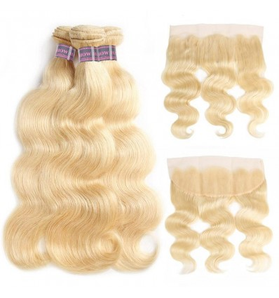 Jada Hair 613 Blonde Body Wave Hair 3 Bundles With 13*4 Lace Frontal