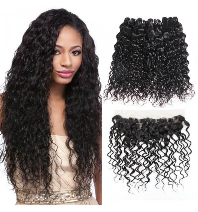 Jada Comfortable Malaysian Water Wave Hair 4 Bundles with Lace Frontal