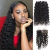 3 Bundles Indian Virgin Human Water Wave Hair Piece with Lace Closure
