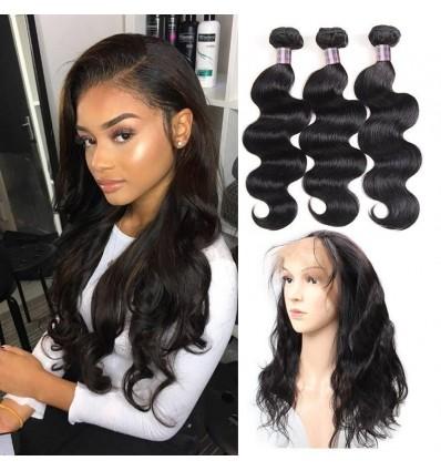Jada Hair Indian Virgin Body Wave Hair 3 Bundles with Full Lace Frontal