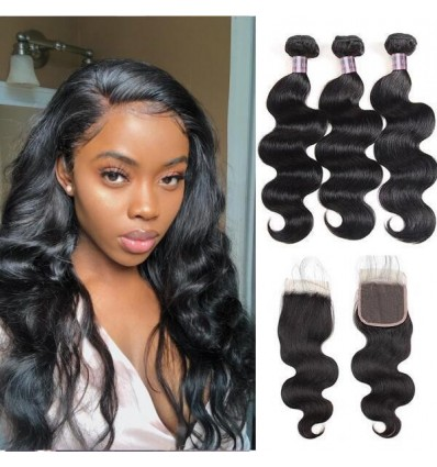 Jada 3 pc Realistic Malaysian Body Wave Hair Bundles with Lace Closure