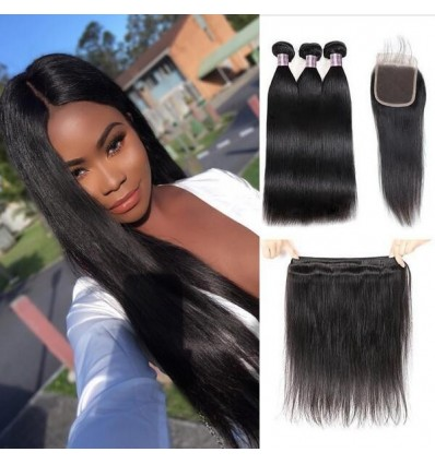 Jada Good Brazilian Straight Hair Extension Bundles with Lace Closure