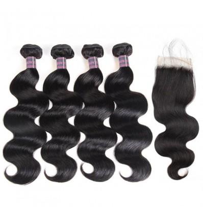 Jada Unprocessed Virgin Indian Body Wave Hair Bundles with Lace Closure