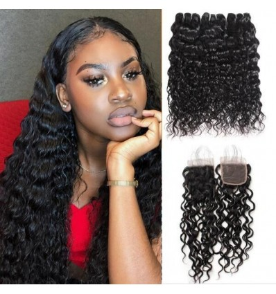 Jada Promotion Water Wave Malaysian Hair 4 Bundles with Lace Closure