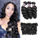 Jada Discount Brazilian Loose Wave Hair 3 Bundles with Lace Frontal