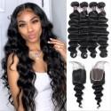 Remy Brazilian Loose Deep Wave Hair Extension Lace Closure 4 Bundles