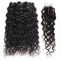 Middle Part Natural Black Long Water Wave Hair Bundles with Lace Closure
