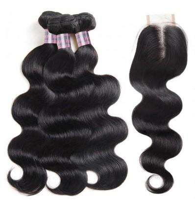 Jada Hair Beautiful Brazilian Hair Body Wavy Bundles with Lace Closure