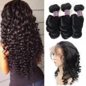 Jada Cheap 3 Bundles Long Black Peruvian Loose Wave Hair with Full Lace Frontal