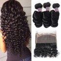 Jada 3 Bundles Malaysian Loose Wavy Hair Weave with Full Lace Frontal
