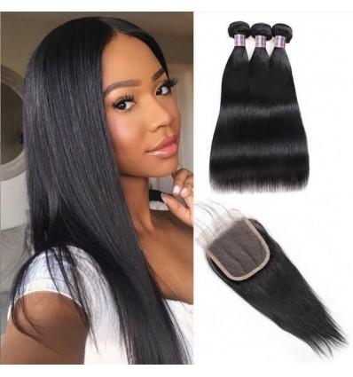 Jada Natural Brazilian Straight Human Hair Bundles with Lace Closure
