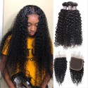 Jada 3 PC Peruvian Kinky Curly Hair Extension Bundles with Lace Closure