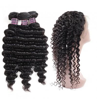 Jada 360 Full Lace Frontal Brazilian Human Deep Wave Hair Bundles 3 pcs