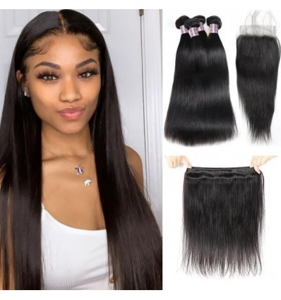 Jada Hair Fantastic Brazilian Straight Hair 4 Bundle Deals with Lace Closure