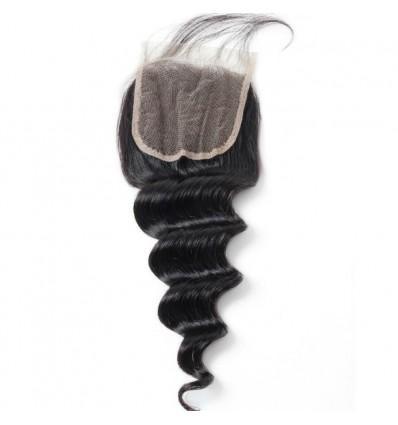 Jada Free Part Human Loose Deep Wave Hair Weaving with Lace Closure