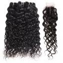 Jada Natural Black Water Wave Human Hair 3 Bundles with Lace Closure