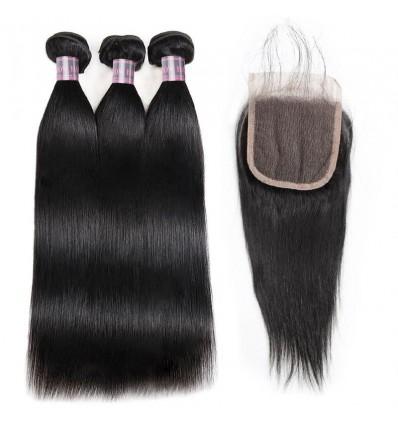 Jada Hair Straight Virgin Hair Wave Indian Hair Bundle Deals Lace Closure