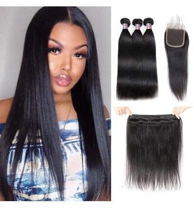 Jada Hair Peruvian Straight Virgin Extension 3 Bundles Hair with Lace Closure